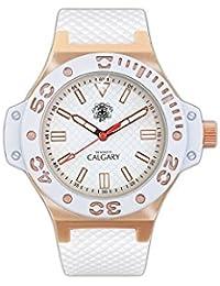 Relojes Calgary Portofino Gold. Reloj clásico para Mujer. Esfera Blanca y Dorada y Correa