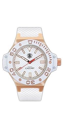 Relojes Calgary Portofino Gold. Reloj clásico para Mujer. Esfera Blanca y Dorada y Correa Color Blanca