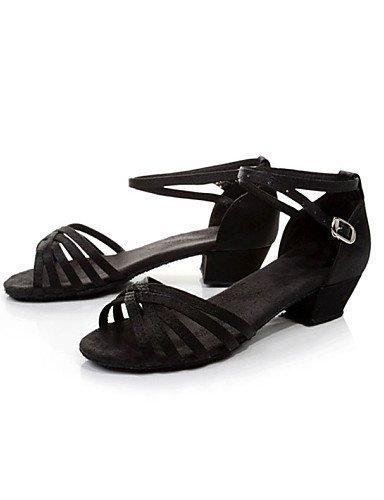 shangyi pas personnalisables–talon compensé–cuir synthétique–Latin–Femme/Enfant noir - noir