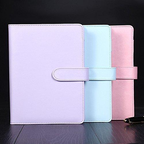 Carino macaron spirale notebook creative A5/A6PU legante agenda planner organizer diario cancelleria ufficio scuola forniture Changlesu A5 Pink