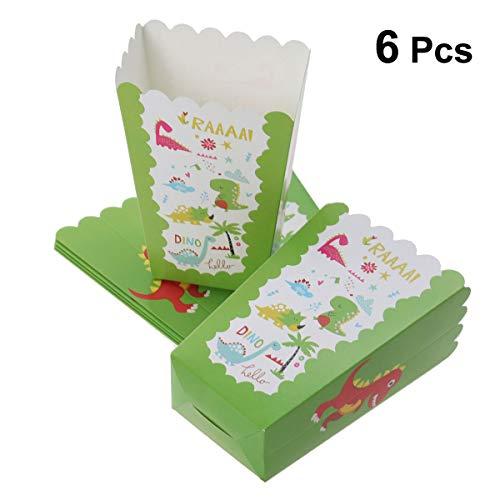 BESTONZON 6 Stücke Popcorn Boxen Dinosaurier Gemusterte Einweg Popcorn Container Hochzeit Geburtstag Party Supplies - Popcorn Beschichtete