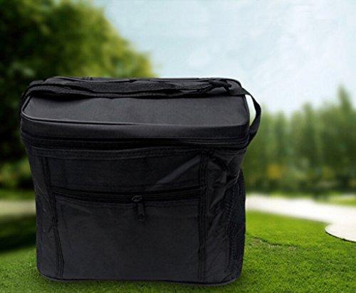 Junsi portatile viaggio borsa impermeabile fodera sacchetto di pasto–Borsa frigo termica Borsa picnic 27* * * * * * * * 17* * * * * * * * 14cm, nero, Universally nero