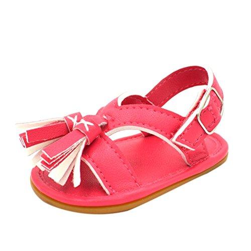 Antiderrapante Recém Bebê Sapatos 1paar Macia nascido Igemy Rapariga Borla Vermelho Passo Sandálias EvqA10xw