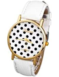 Better Dealz Damen Lässig Armbanduhr Polka Dot Zifferblatt Fashion Trend Quarzuhr Damenuhr Lederarmband Analog Uhren Weiß