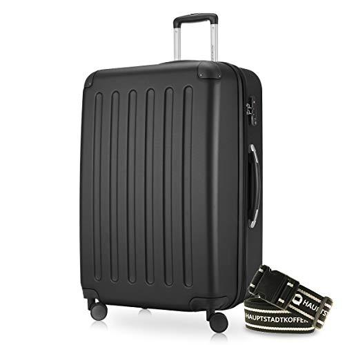 Hauptstadtkoffer - Spree Hartschalen-Koffer-XL Koffer Trolley Rollkoffer Reisekoffer Erweiterbar, 4 Rollen, TSA, 75 cm, 119 Liter, Schwarz inkl. Gepäckgurt
