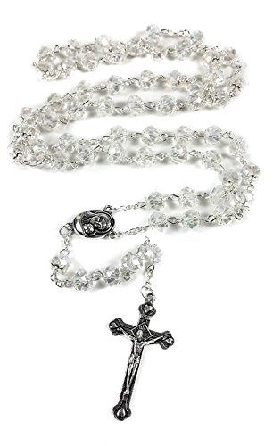 Cristal clair perles chapelet catholique collier sol Sainte m?daille avec Crucifix