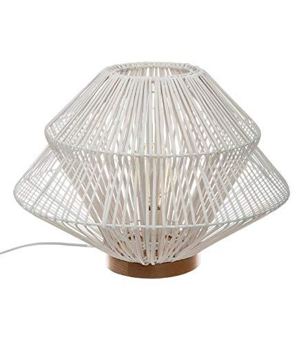 Atmosphera - Lampe à Poser en Rotin Blanc H33 Ludza
