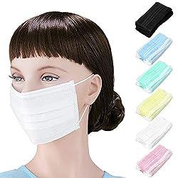 Grippeschutzmaske, Schutzmaske/Atemschutzmaske, mit Ohrschlaufen, schützt vor Viren und Verschmutzungen, 50 Stück Zufällige Farbe