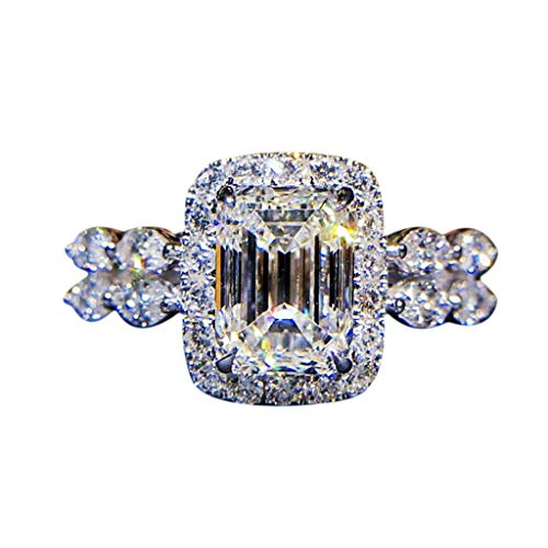 LABIUO Damen Ring, Mode Luxus Strass Diamant Platz Heiratsantrag Ring Schmuck Für Frau Freundin(Silber,7)
