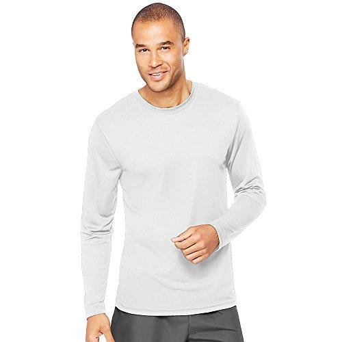 Hanes Mens Cool Long-Sleeve Performance T-Shirt Weiß - Weiß