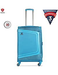 Traworld Tokyo Expandable Premium Jacquard Material 69cm Teal Blue Soft Sided 4 Wheels Spinner Travel Trolley Luggage Suitcase