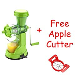 BLUE SKY Fruit & Vegetable Juicer Mixer Grinder with Steel Handle,Green + Free Apple Cutter- By A to Z Sales-AZ5012