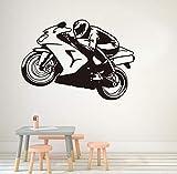 xlei Wandaufkleber Motorrad Racing Driver Vinyl Wandaufkleber Abnehmbare Wasserdichte Tapete Schlafzimmer Aufkleber Wandtattoos Home Decoration82X58Cm
