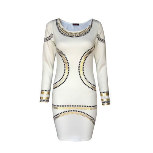 (womens kim plus size gold foil trim mini dress)(STY) femmes plus la taille clinquant dor rogner minirobe (cream) creme