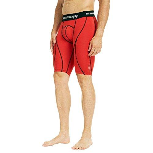 COOLOMG Shorts Funktionshose Kurz Laufhose Training Fitness Gym Fußball Sporthose für Herren Jungen Rot M