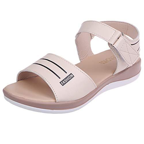 LILIGOD Damenmode Wild Sandalen Rundkopf Einfarbig Sandalen Schuhe Sandalen mit Keilabsatz Weicher Boden Klettverschluss Sandalen Flache Bequem Open Toe Sandalen Freizeitschuhe -