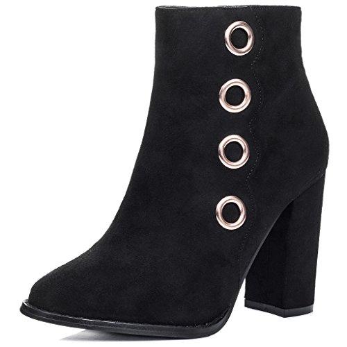 SPYLOVEBUY CILLIAN Femmes à Talon Bloc Bottines Chaussures Noir - Simili Daim