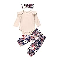 3PCS Infant Baby Girls Outfits Ruffle Long Sleeve Knitting Romper Bodysuit + Floral Pants + Headband Fall Clothes Set (Beige, 0-3 Month)