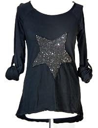 ITALY - Star Damen Shirt Longsleeve mit Stern-Motiv Pailletten Used Look One Size schwarz 36-40