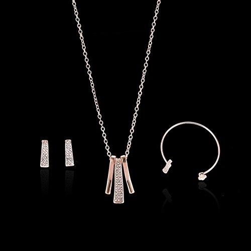 Man9Han1Qxi Frauen Bar Form Strass Anhänger Halskette Armband Ohrstecker Schmuck Set Rose Gold