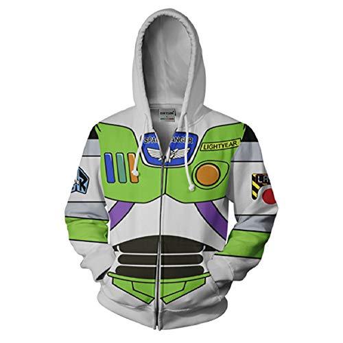 RJHWY 3D Hoodie Sweatshirt Unisex Pullover Kapuzenjacke Kleidung Mantel Reißverschluss Anime Top Buzz Lightyear - Buzz Lightyear Kostüm Frauen