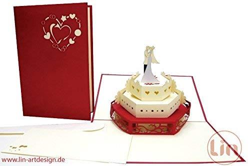 Lin de Pop up Cartes de mariage mariage cartes, invitations Cartes 3D Cartes de vœux Félicitations cartes de mariage amour, gâteau de mariage