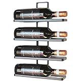DanDiBo, scaffale per bottiglie di vino '4 Wine', in metallo, colore nero, per il montaggio a parete, ampliabile