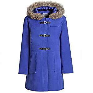 MyShoeStore Ladies Womens Duffle Wool Trench Coat Winter Casual Hooded Toggle Outerwear Vintage Jacket Plus Sizes 10-24