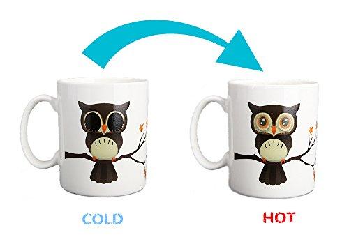 Nowsend Tasse mit Thermoeffekt Farbwechsel tasse Colour changing mug ca. 300ml (Die eule) (Weiße Mikrowelle Farbe)