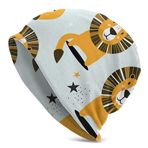 Wfispiy berretti per uomo donna -warm, lions stars fondale colorato berretto con fiocco riccio copricapo duro , berretto con cappuccio morbido elastico sì