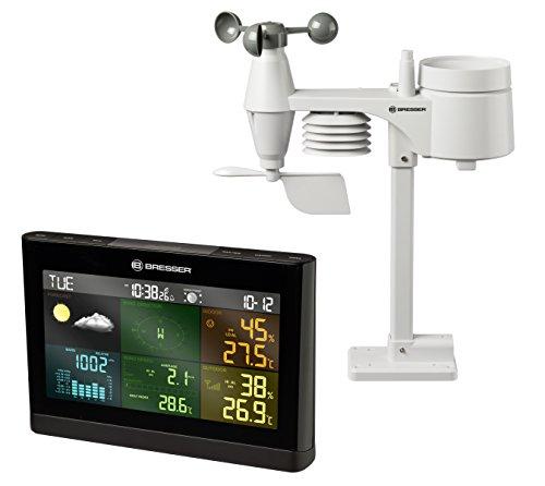 Bresser Wetterstation Wetter Center 5-in-1 Comfort mit 7,3 Zoll Farb-Display und Außensensor für Temperatur, Luftfeuchtigkeit, Luftdruck, Wind, und Niederschlag (Regenmesser)