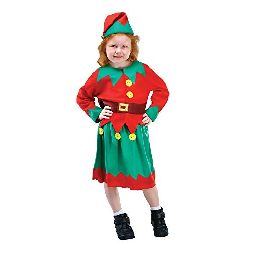 Bristol Novelty Kinder/Mädchen Santas Helfer Kostüm (L) (Rot/Grün) (Kinder Santa's Helfer Kostüm)