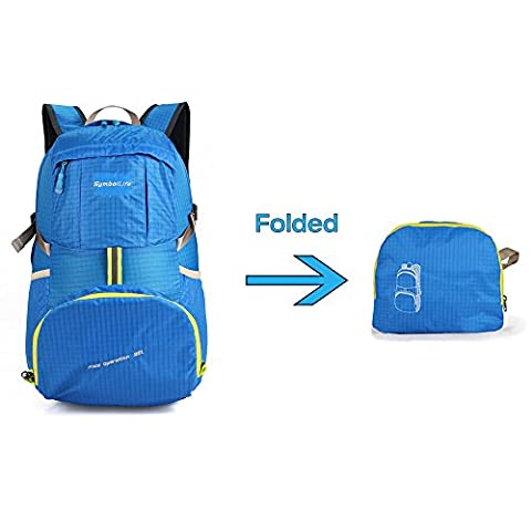 SymbolLife Outdoor Ultra-light Water-repellent 35L Packable Handy Lightweight Travel Backpack Daypack for Camping Hiking Trekking Mountain Climbing, Blue