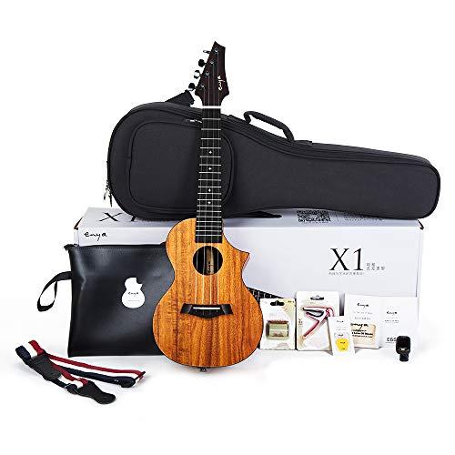 Ukulele Concerto EUC-X1C 23 pollici ukelele con corpo in HPL,borsa imbottita,accordatore,tracolla,capotasto,corde di scorta,plettri,panno per la pulizia, fingershaker