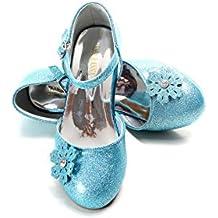 ELSA & ANNA® Última Diseño Buena Calidad Niñas Princesa Reina de Nieve Jalea Partido Zapatos Zapatos de Fiesta sandalias (Blue, EURO 24-Longitud:16.0cm)