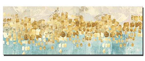 60x180cm - Leinwanddrucke Wandkunst - Gold Abstrakte Kunst Moderne Drucke auf Leinwand Große Leinwand Gemälde Wandkunst für Wohnzimmer (PC5755, 60 x 180 cm) Poster Abstrakte Gemälde