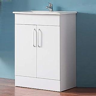 Aica 600mm Vanity Unit with in-set Basin Sink, Floor Standing White Bathroom Storage Cabinet Furniture with Doors
