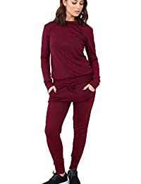 2564db8a88c 21FASHION New Ladies Women's Sweatshirt Joggers Plain Lounge Wear Tracksuit  Lounge Wear