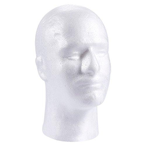 Cabeza de peluca de espuma para manualidades, soporte de maniquí para sombrero, máscara, gorra, espuma de poliestireno blanco, 12,7 x 10,7 x 20,3 cm