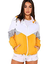 FLIRTY WARDROBE Womens Colour Block Festival Jacket Bomber Coat Contrast Hooded Windbreaker Cute