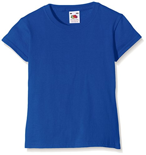 Fruit of the Loom Girl's T-Shirt T-Shirt Ss079b, Gr. Gr. 5/6 Years (Herstellergröße: 26), Blue (Royal) (Royal Bekleidung Blue Kids)