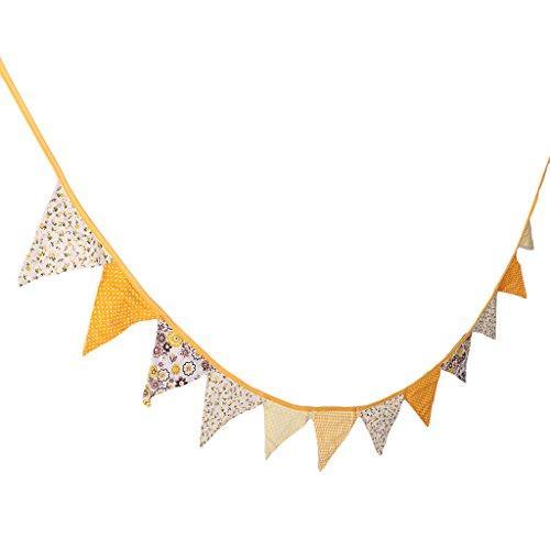 MagiDeal Stoff Wimpel Girlande Banner Bunting Wimpelkette Wimpeln für Hochzeit Geburtstag Party Dekoration - Gelb