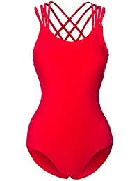 Frauen Badeanzug Retro inspiriert gekreuzte Träger am Rücken Einteiler