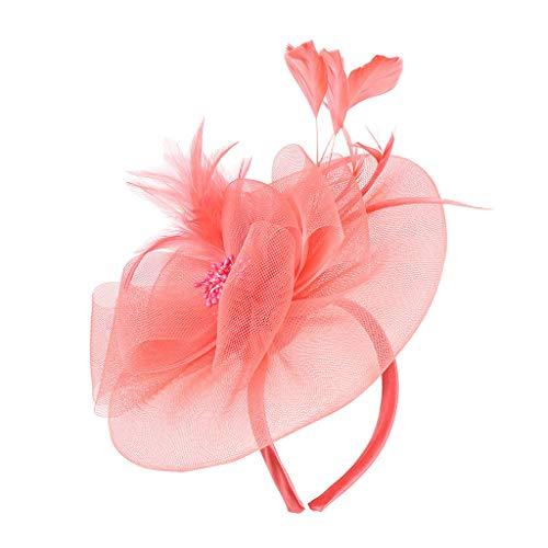 Fascinator Haar Clip Accessoire Tea Party Hochzeitskirche Kopfbedeckung für Frauen Damen Elegante Bowknot Feder Hochzeit Cocktail Schleier Hut Mesh Net Braut Haarschmuck Haarreif Derby Panel Twill Cap