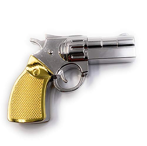 H-Customs Revolver Pistole Silber Goldener Schaft Metall USB Stick 8 GB USB 2.0