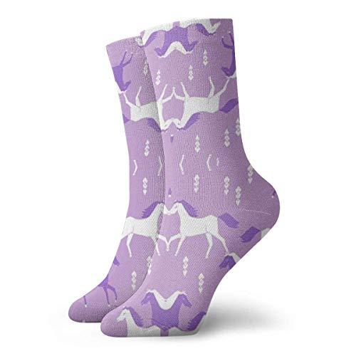 CVDGSAD Pferde Lila Lila Mädchen Süßes Cowgirl Unisex Neuheit Crew Länge Lustige Socken-Bunte Funky Socken (Stiefel Cowgirl Hochzeit Für Die)