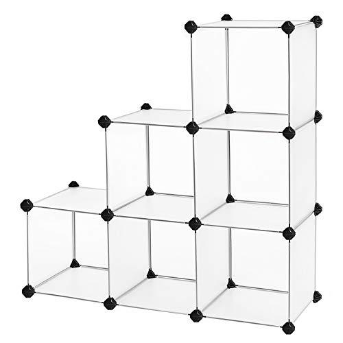 Songmics armadietto modulare, guardaroba a 6 cubi, armadio scaffale a scompartimenti, mobiletto traslucido 96 x 31.5 x 96 cm lpc111s