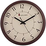 Solimo 11-inch Wall Clock (Silent movement, Brown Frame)