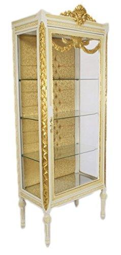 Casa Padrino Barock Vitrine Antikstil Weiß/Gold - Vitrinenschrank - Wohnzimmerschrank Glasvitrine