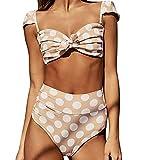 JMETRIC Modischer Rückengurt-Badeanzug mit Aufgedrucktem, Tief Sitzendem Bikini(Braun,M)